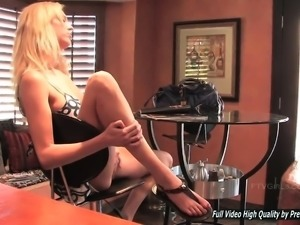 Gorgeous blonde is torturing her sweet holes
