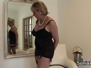 Unfaithful british milf lady sonia exposes her huge tits