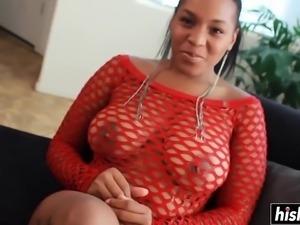 Big tits ebony slut masturbates sensually