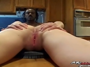 Foureyes sexy babe receives black cock
