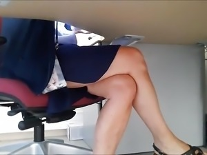 candid sexy legs under table ( stephanie )