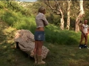 Tiffany Taylor shading miniskirt then throbbed doggystyle outdoor