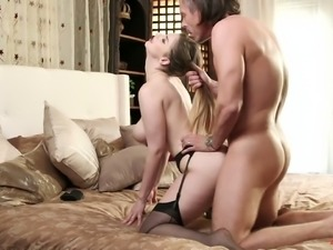 Awesome curvy sexpot in stockings Stella Cox prefers some steamy doggy sex