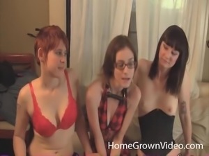 Kinky games with strap on for three sweet college girls