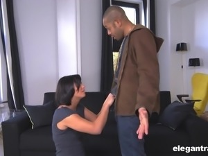 Black fellow cannot resist brunette bomb Alysa Gap's hot body