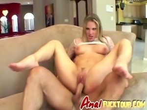 Two long schlongs for horny blonde slut on couch