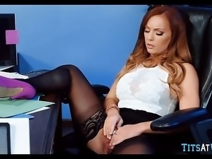 Redhead is horny at work