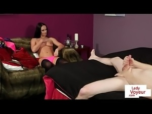 Stockinged eurobabe instructing tugging guy
