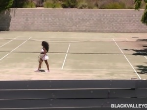 Hot black babe Daya has just finished tennis practice, but it isn't time for...