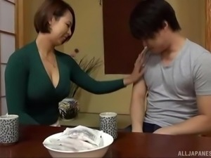 Amazing Japanese honey Mizumoto Erika slurping a hairy manhood