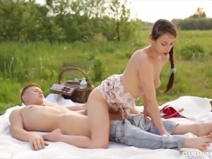 Cute brunette girlfriend wants to be covered in semen