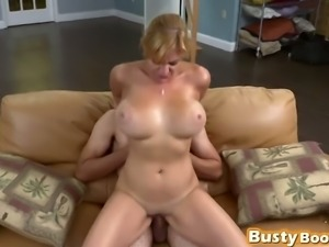 Naughty babe with big tits riding cock