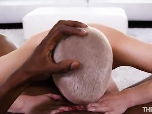 Short hair babe giving big black cock stunning blowjob