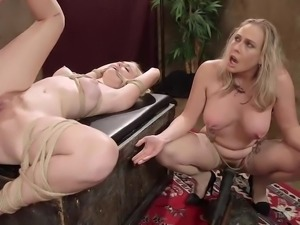 When you have one sexy blonde tied up, and another one positioned in a squat...