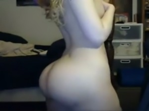 Gorgeous and playful blonde girl shows off her mesmerizing ass