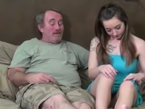This old fart loves bad girls and he has no problem having sex on camera