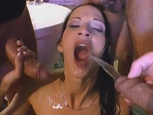 European Babe Gets Warm Golden Shower In Gang Bang
