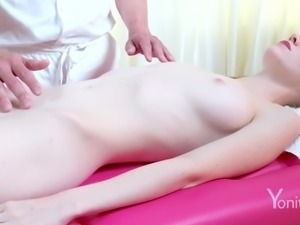 Pale honey Emily has her body and wet pussy rubbed sensually