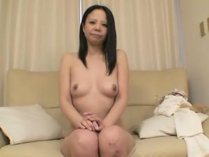 Nasty slut Naoko Sawai lets her lover tickle her twat with her Hitachi