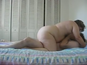 BBW slut with big tits gives me head and then rides hard stick on top