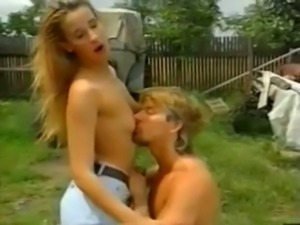 Sweet tall blonde German chick blows dick in the village