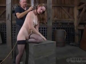 Hazel Hypnotic wears stockings and plays with her pussy