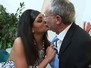 Kat Lee giving her pussy to an older guy who is extremely horny