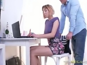 Mesmerizing cute coed chick Meloney Blond actually loves steamy sex
