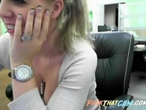 Sexy blonde slut on webcam stripteasing and shows off her tight pussy