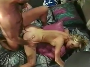 Insatiable and filthy blondie on the bed enjoys rough anal sex