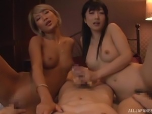 Stunning Japanese ladies crave a hunk's big member