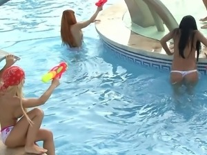 Yoha Galvez and Diana Dean fucked hard at a pool by two guys