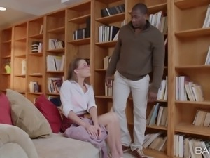 In the library she lives out her interracial sex fantasies