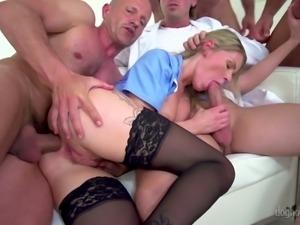 Both fuck holes of whorish blondie Claudia Macc get nailed properly