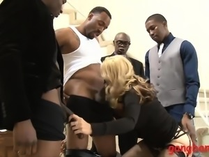 Busty blond lady Sarah Vandella dped by big black cocks