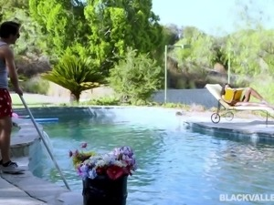 He was cleaning the swimming area, when he spotted the beautiful black babe...