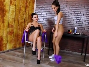 Straight girl gets blindfolded and turned into a lesbian by a lesbian