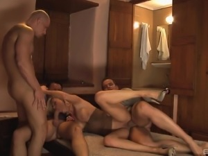 Three dicks are all Laura Crystal wants up her tight holes