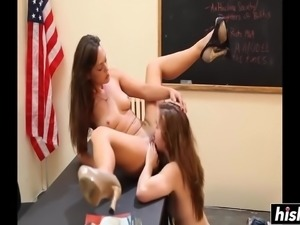 Sexy teacher makes her student eat her pussy if she wants to pass
