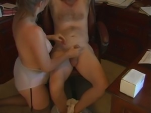 Torrid big breasted blonde wife of my buddy loves wanking him properly