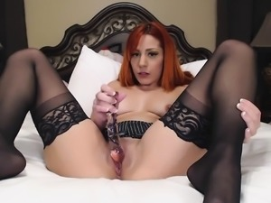 Amateur sex movie with a redhead stockings babe get anal sex