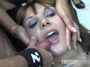 German language teacher easily swallows more than 70 mouthful cum loads