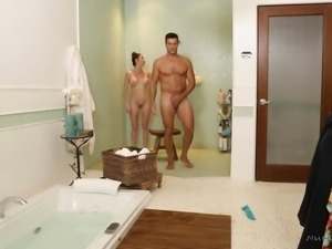 Silvia Saige oils up a fellow before riding his erected dick