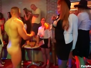 Eatable nice ass blonde banging on cock in party group sex