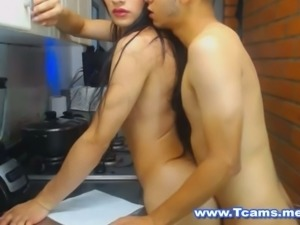 Sexy Tranny Gets Fucked in the Kitchen