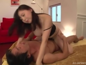 Japanese woman's love hole filled with sticky jizz after a fuck