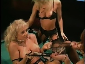 Big fake tits lesbian Amber Lynn smashed using strapon