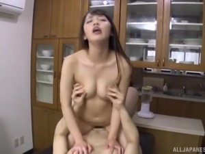 Misaki Kanna seduced by a hunk for a fuck on a table