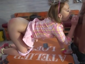 Beautiful girl Stasy Riviera blows extremely huge tool before doggy style...