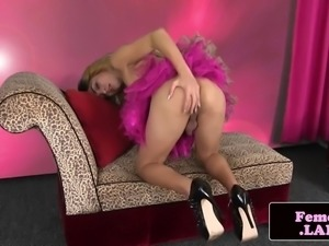 stripping glam tgirl stroking her cock solo